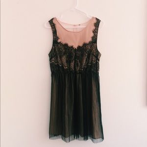 forever 21 light pink and black lace mesh dress